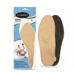 CORBBY Wkładki do butów ORTO skórzane z pelotą