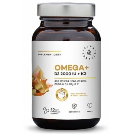 Omega + Witamina D3 + Witamina K2 60 kaps AURA HERBALS