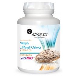 Wapń z muszli ostryg z K2 MK7 i D3 x 100 tabletek Aliness