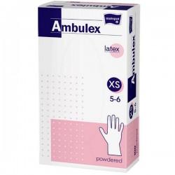 Rękawice niejałowe lateksowe AMBULEX pudrowane XS, 100szt