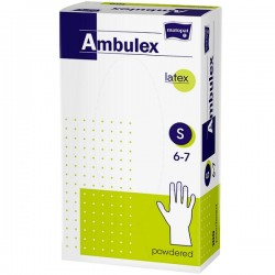 Rękawice niejałowe lateksowe AMBULEX pudrowane S, 100szt