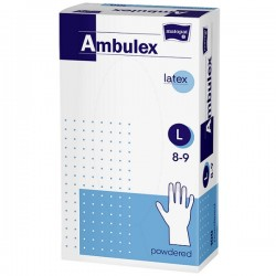 Rękawice niejałowe lateksowe AMBULEX pudrowane M, 100szt