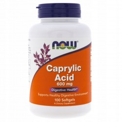 CAPRYLIC ACID KWAS KAPRYLOWY 600 MG x 100 KAPS   NOW Foods