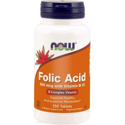 FOLIC ACID 800 mcg + VITAMIN B12 x 250 tabl. NOW FOODS