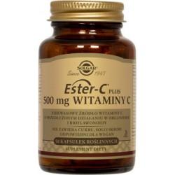 Solgar Ester-C Plus 500mg Witaminy C niekwasowe źródło witaminy C x 50 kapsułek roślinnych