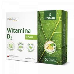 Witamina D3 2000 IU w oleju lnianym x 60 kapsułek roślinnych Biovitum Liquid COLFARM
