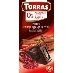 Czekolada gorzka z pieprzem, cynamonem, chili Torras 75 g Bez cukru