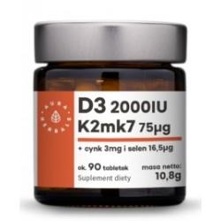 Witamina D3 2000IU + K2mk7 + Cynk + Selen - 90 tabletek AURA HERBALS